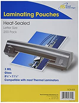 Royal Sovereign 3 Mil Letter Size 11.25  x 8.75  x 0.7  Inches Thermal Laminating Clear Gloss 200 Pouches  SCR-003