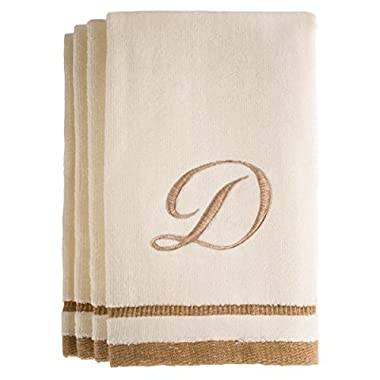 Monogrammed Gifts, Fingertip Towels, 11 x 18 Inches - Set of 4- Decorative Golden Brown Embroidered Towel - Extra Absorbent 100% Cotton- Personalized Gift- For Bathroom/Kitchen- Initial D (Ivory)