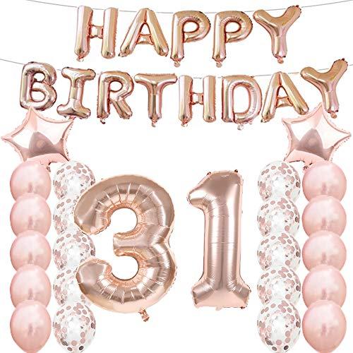 Decorazioni per Il 31° Compleanno, Palloncini Oro Rosa, Numero 31, in Mylar, Palloncini in Lattice, Ideali Come Regalo per Il 31° Compleanno per Ragazze, Accessori fotografici.