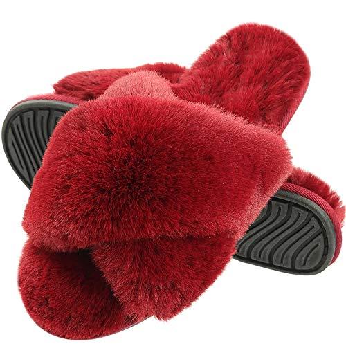 MIYA Pantofole da Donna Pantofole in soffice Pelliccia per Tutta la Stagione Pantofole in soffice Peluche Pantofole Antiscivolo per Interno/Esterno Vino Rosso 39 40 L