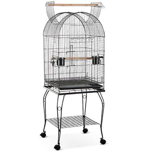 IKAYAA Gabbia Voliera per Uccelli Pappagalli Inseparabili Calopsite Macaw Cockatoo Parakeet Finch Cage + in Acciaio Inox Bowl e Lockable Wheels