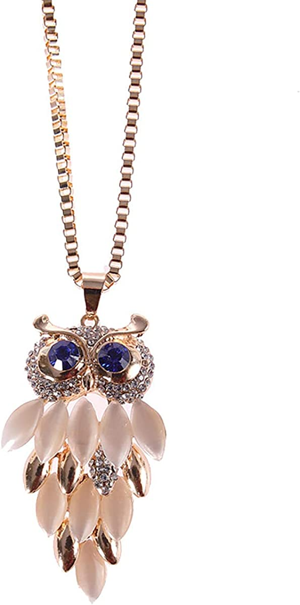 XUN Zhe Sparkly Crystal Stone Owl Pendant Necklace Vintage Animal Owl Sweater Chain Necklace Charm Jewelry for Women Teen Girls