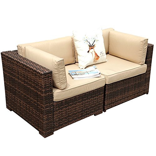 Patiorama Outdoor Loveseat, All Weather Rattan Loveseat Brown Wicker Chairs,...