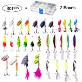 Dr.Fish Lot 30 Fishing Spinner Kit with 2 Tackle Boxes Spoon Fishing Lures for Bass Trout Assorted Mutiple Styles Spinnerbait Roostertail Walleye Salmon Travel Baits Full Kit