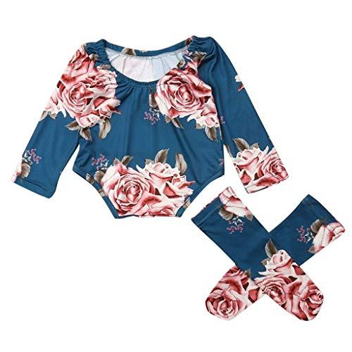 Kleinkind Outfits Set Baby Mädchen Blumen Druck Babybody Strampler Spielanzug Overall + Bein-Wärmer Zweiteilig Kleidung Bekleidungsset, Blau, 6-12 Monate