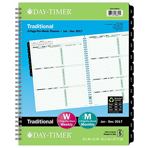 "Day-Timer Weekly Refill 2017, Two Page Per Week, Wirebound, Notebook Size, 8-1/2 x 11"", Classic (16035)"