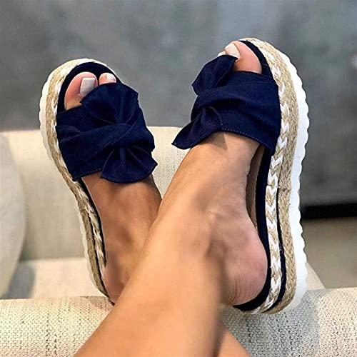 Slipper de la plataforma de las cuñas de verano de las mujeres, resbalón del nudo del arco de la moda en las sandalias de la diapositiva, el ancho de la parte gruesa de la parte inferior de los tacone
