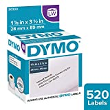 DYMO LW Mailing Address Labels for LabelWriter Label Printers, White, 1-1/8'' x 3-1/2'', 2 rolls of 260