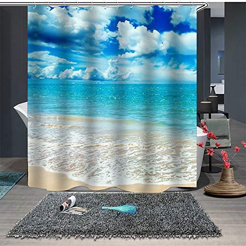 Chickwin Cortina de Ducha Impermeable,3D Cocotero Playa Paisaje Patrón Anti-Molde Cortinas Baño Ducha Cortinascon 12 Ganchos para el Baño (150x180cm,Océano Azul)