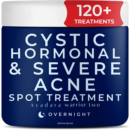 Ayadara Cystic, Hormonal, & Severe Acne Spot Treatment for Face & Body   Pimple, Milia, & Blackhead Remover Cream for Adults, Teens, Women, & Men   Tea Tree Oil for Skin Blemish   120+ Treatments