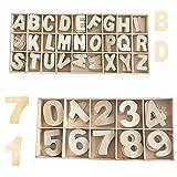 Sweieoni Letras y Números en Madera 216 Piezas Letra Mayúscula de Madera A-Z Madera de Alfabeto Letras de Madera Números de Madera 0-9 para DIY Manualidades Decoración con Caja de Madera