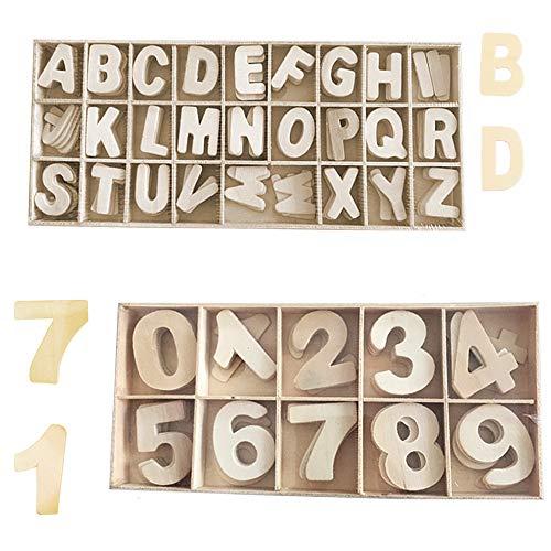 Sweieoni Wooden Letters And Numbers 216 Pezzi Lettere Decorative Grandi Lettere Grandi Legno Lettere A-Z Numeri in Legno 0-9 Lettere in Legno per Fai da Te Decorazioni con Scatola di Legno