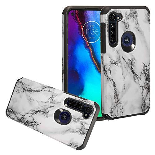 CELZEN - für Motorola Moto G Stylus XT2043, Moto G Power XT2041 (2020 Version) - Hybrid Image Phone Hülle - AD1 White Marble