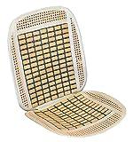 VIP - Respaldo de asiento RELAX para coche con madera de bambú. Fabricada en rafia + bambu, beige/madera
