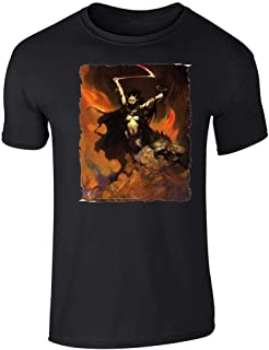 Woman with Scythe by Frank Frazetta Fantasy Art Graphic Tee T-Shirt for Men