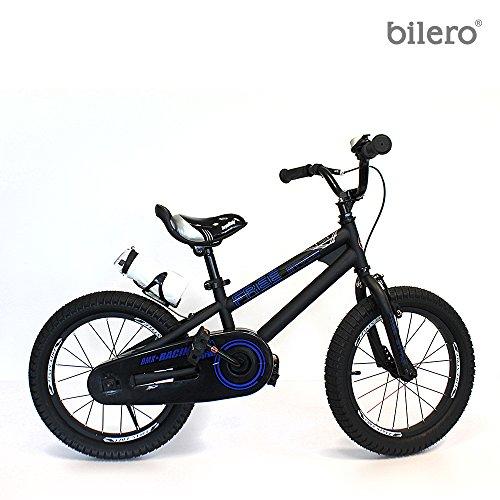 Bilero Kinderfahrrad 16 Zoll mit Aluminiumfelgen BMX Fahrrad in verschiedenen Farben (Schwarz - Neon Blau)