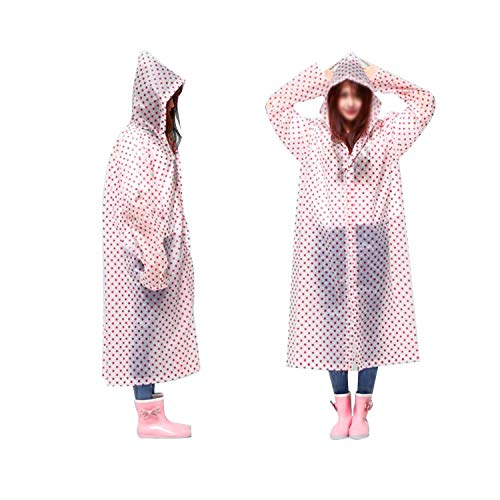 AllExtreme EXRS02A Women EVA Waterproof Transparent Rain Coat Hooded Outdoor Water Resistant Portable Raincoat Suit for Girls (Universal Size, Random Colours)