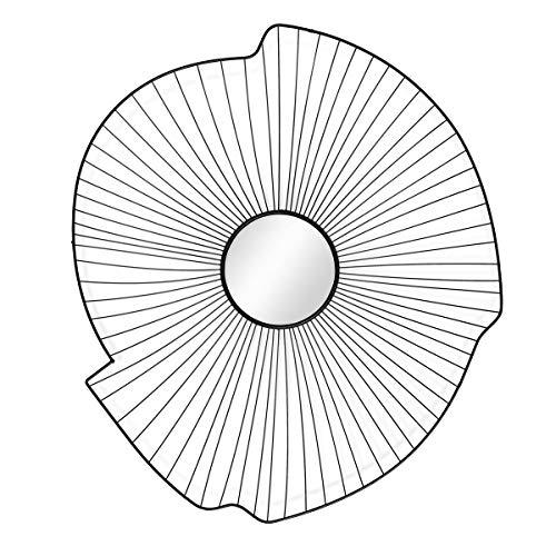 PHOTOLINI Spiegel Sonne Rund Schwarz 74x66 cm | Design-Spiegel aus Metall | Runder Schwarzer Spiegel Abstrakt