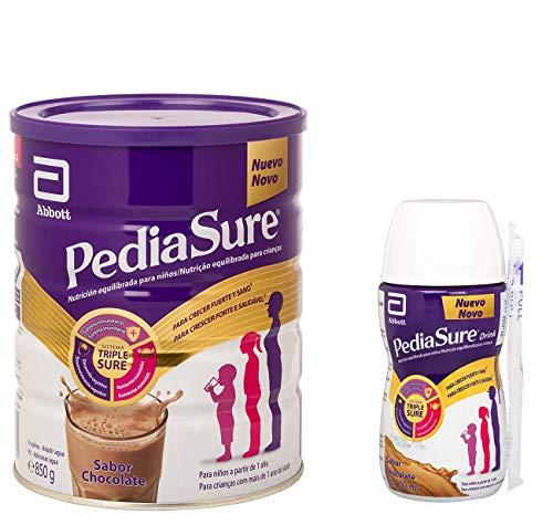 PediaSure Pack de 2 Complemento Alimenticio para Niños con Proteínas, Vitaminas y Minerales, Sabor Chocolate - 850 gr + 4 x 200 ml