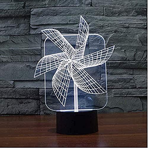 Lámpara 3D De La Ilusión Decoración Tabla Lámpara De Escritorio Molino 7 Colores Control Táctil Con Buena Imagen Panel Decoración Regalo Creativo Casa Oficina,Regalo De Valentín