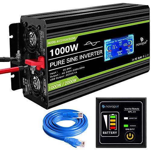 Spannungswandler24V auf 230V 1000W/2000W Reiner Sinus-Wechselrichter -Wechselrichter mit 2 EU-Steckdosen und 2.1A USB-Anschluss - inkl. 5-Meter-Fernbedienung mit LCD-Bildschirm