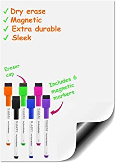 "kedudes Magnetic Dry Erase Whiteboard Sheet 17"" x 11"" with a Set of 6 Markers"