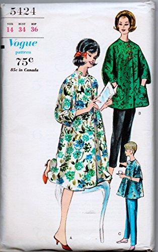Vogue Misses Vintage Maternity Robe and Slacks Sewing Pattern Size 14 Bust 32