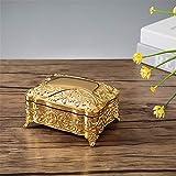 joyeros,Joyero vintage de estilo europeo, caja de regalo de cumpleaños de princesa de flores de piedras preciosas de metal-oro