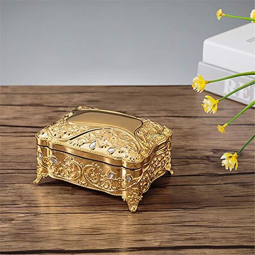 Joyero de estilo europeo, caja de joyería vintage, metal con piedras preciosas, princesa, caja de regalo de cumpleaños, color dorado