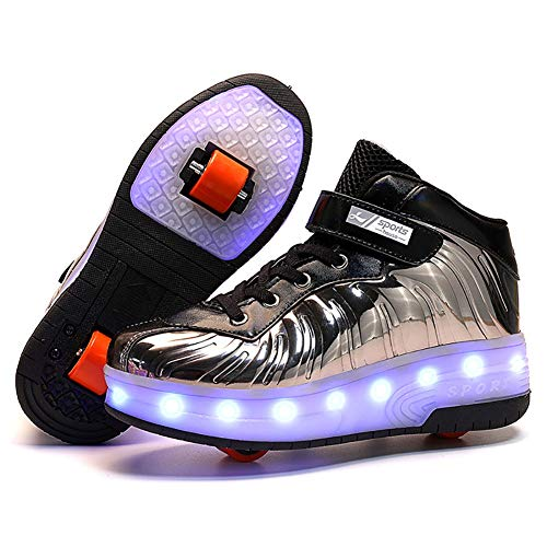 ZGNB Schuhe mit Rollen Skateboardschuhe, LED Licht USB Wiederaufladbar rutschfest Kinder Unisex Outdoor Sport Gymnastik Running Rädern Gymnastik Sneaker Jungen Mädchen