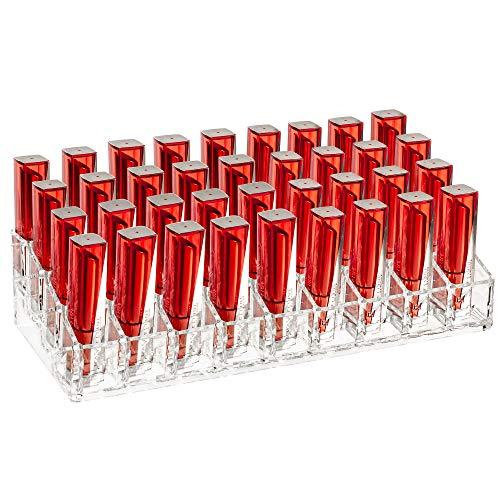 iPEGTOP - Portarossetto in acrilico trasparente con 36 fessure per rossetto e cosmetici