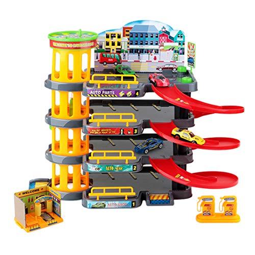 Yavso Garaje Coches Juguete - 3D Parking Infantil de 4 Plantas - Aparcamiento con 4 Coche Garaje Juguete para Niños