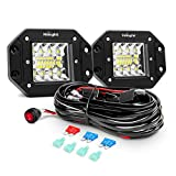 Nilight 2PCS 42W Flush Mount LED Pods Spot Flood Combo Beam Driving Light Backup Light Reverse Light Grill Mount Light with Wiring Harness Kit -2 leads, 2 Years Warranty (ZH413)