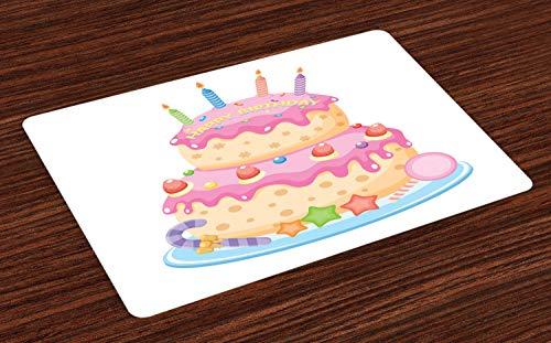 ABAKUHAUS Kindergeburtstag Platzmatten, Pastell farbigen Geburtstag Party Kuchen mit Kerzen und Süßigkeiten Feier Bild, Tiscjdeco aus Farbfesten Stoff für das Esszimmer und Küch, Hellrosa