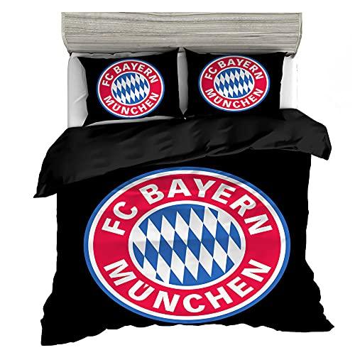 Bayern München Set Copripiumino 220x240cm Club di Calcio Set Biancheria da Letto,Traspirante Microfibra,Copripiumino Morbido e Confortevole con Cerniera e 2 Federe 50 x 75 cm