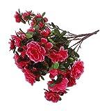 2 Bouquets Fleur Azalée Artificielle Bouquet de Mariage Décoration Rose Rouge