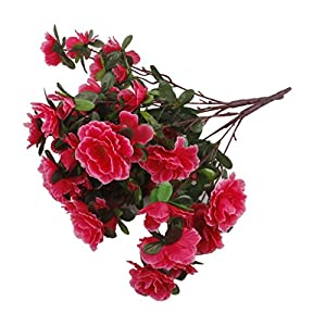 Silk Flower Arrangements LOVIVER Artificial Flowers Small Azalea Bouquet 2 Bunches 14.57'' Wedding Party Outdoor Decor (5 Rose red