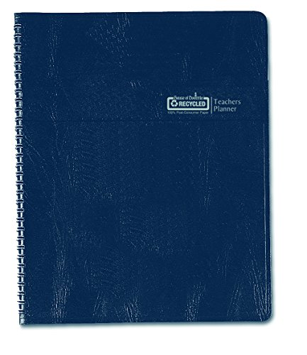 House of Doolittle Teachers Planner with Seating Chart, 7 Periods, and Records, 8.5 X 11 Inches Blue Leatherette (HOD50907)
