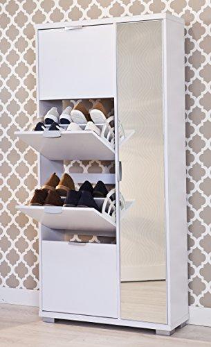 Top Kit | Mueble Zapatero Amazonas 63ab | Medida 175 x 81,5 x 28 cm | Armario Zapatero | Organizador de Zapatos | Blanco