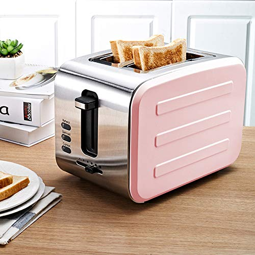 Stainless Steel Toaster Metal Classic 2-Slice Toaster Bagel Toaster 6 Shade Settings Defrost/Cancel/Reheat Function 1.6 Inch Extra Wide Slot, 900W,Pink