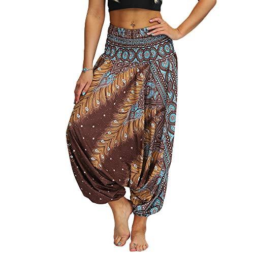 Nuofengkudu Mujer Pantalones Hippies Estampados Baggy Comodos Ligeros Cintura Alta Indios Yoga Pants Casual Playa Fiesta Verano (Marrón,Talla única