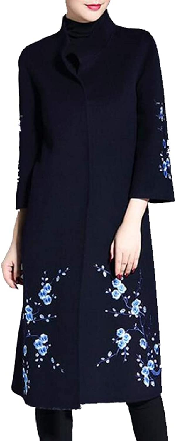 Esast Women's Classic Notched Lapel Solid color Embroidery Print Coat Jacket