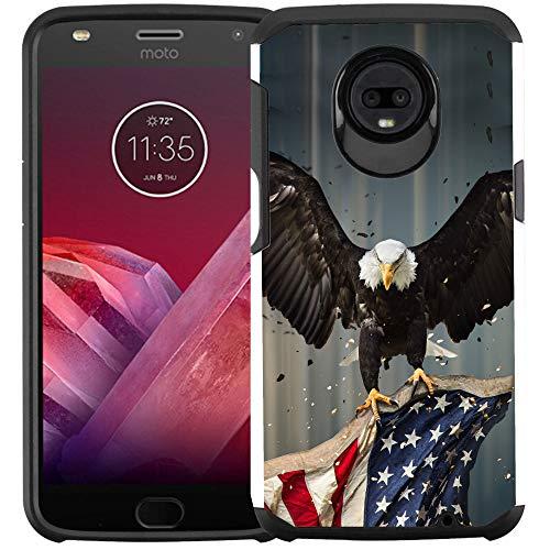 Motorola Moto Z3 Play/Moto Z3 Hülle, doppellagig, stoßfest, American Bald Eagle Flying with Flag