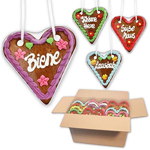 50 Stück Lebkuchen Herzen Mischkarton mit versch. Sprüchen - 14cm - Lebkuchenherz online günstig kaufen - bunte Farben & verschiedene Sprüche passend zum Oktoberfest | Lebkuchenwelt