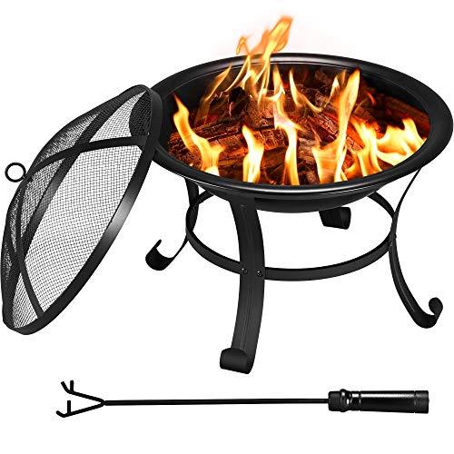 Yaheetech runde Feuerschale mit Abdeckung und Schürhaken, Feuerstelle Garten, Feuerkorb ideal für Camping und Lagerfeuerparty, vierbeinig hitzebeständig Funkenschutz