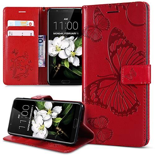 Kompatibel mit Schutzhülle Huawei Honor View 10 Hülle,Prägung 3D Schmetterling Relief Lanyard Muster PU Lederhülle Flip Hülle Cover Ständer Bookstyle Wallet Tasche Hülle Schutzhülle Handyhülle,Rot
