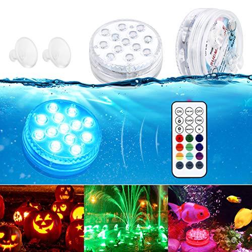 Unterwasser Licht GolWof 8.5CM Wasserdichtes LED Licht RGB 13 LEDs Unterwasser Leuchten mit RF Fernbedienung Poollampe mit Magnetisch Saugnapf für Party Hochzeit Garten Swimmingpool Spa Teich
