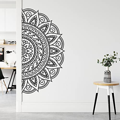 Medio mandala pegatinas de pared arte diseño de interiores casa hogar habitación dormitorio estudio de yoga decoración estilo bohemio calcomanías murales A2 57x113cm