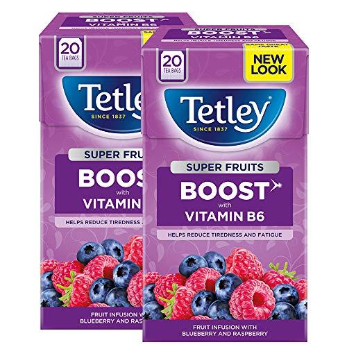 Tetley Blueberry Raspberry Boost Fruit Tea Decaff 2 x 20 tea bags