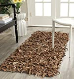 """Safavieh Leather Shag Collection LSG511K Hand Woven Brown Leather Area Rug (2'3"""" x 4')"""